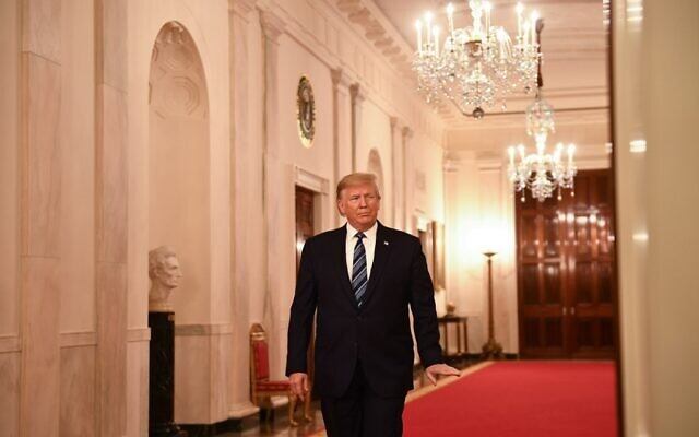 US president Donald Trump arrives for the Presidential Citizens Medal ceremony posthumously given to Rick Rescorla in the East room of the White House on November 7, 2019. (Brendan Smialowski / AFP)