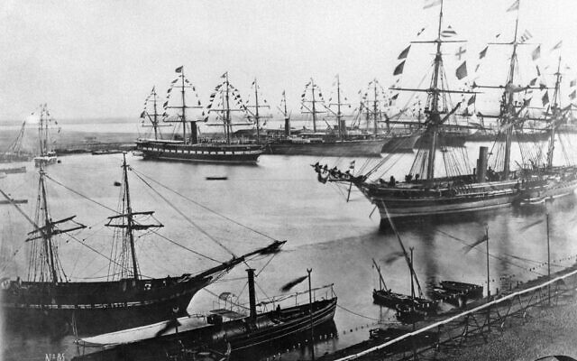 This file photo taken in November 1869 shows the inauguration of the Suez Canal in Egypt. (AFP)