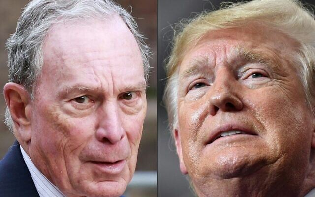 This combination of pictures created on November 8, 2019 shows a file photo taken on May 15, 2019 of Michael Bloomberg, left, arriving to the opening celebration of the Statue of Liberty Museum on Liberty Island at the Statue Cruises Terminal in Battery Park in New York and a file photo taken on November 6, 2019 of US President Donald Trump speaking during a rally at the Monroe Civic Center in Monroe, Louisiana. (Kena Betancur and Mandel Ngan/AFP)