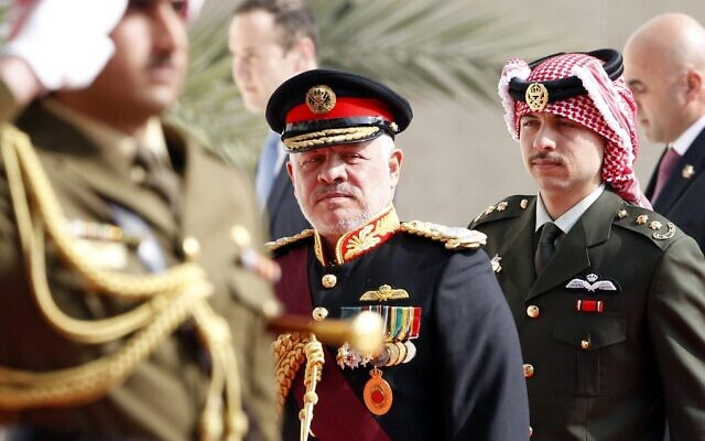 Jordan's King Abdullah II and Crown Prince Hussein (R) arrive for the opening parliamentary session in the capital Amman on November 10, 2019, as Jordan reasserted its control over land enclaves on the border with Israel. (Khalil Mazraawi/AFP)