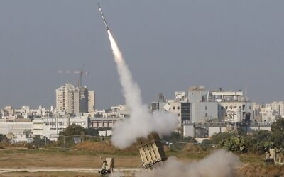 An Israeli missile is launched from the Iron Dome defense missile system, designed to intercept and destroy incoming short-range rockets and artillery shells, in the southern Israeli city of Ashdod, on November 12, 2019, to intercept rocket launched from the nearby Palestinian Gaza Strip. (Jack Guez/AFP)