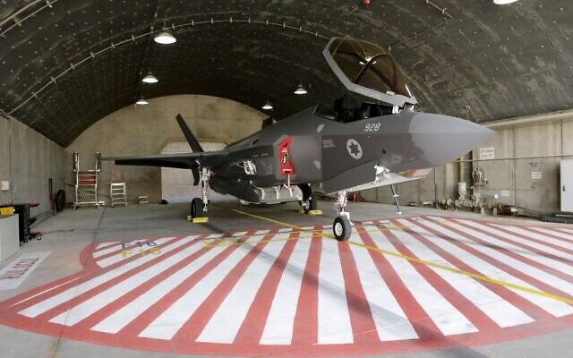 """An Israeli F-35 fighter jet is seen in a hangar during the """"Blue Flag"""" multinational aerial exercise at the Ovda air force base, north of the Israeli city of Eilat, on November 11, 2019. (Jacob Magid/Times of Israel)"""