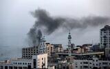 Smoke rises after an Israeli airstrike in Gaza City on November 13, 2019. (MAHMUD HAMS / AFP)