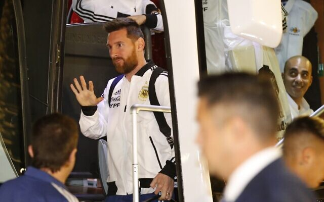 Argentina's forward Lionel Messi arrives at the Hilton hotel in Tel Aviv on November 17, 2019, ahead of the friendly soccer match between Uruguay and Argentina. (Jack GUEZ / AFP)