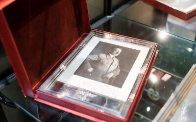 A framed portrait of Adolf Hitler is pictured on November 20, 2019, at the Hermann Historica auction house in Grasbrunn near Munich, southern Germany, prior to an auction of personal belongings from German dictator Adolf Hitler and other notorious World War II Nazi leaders. (Matthias Balk/dpa/AFP)