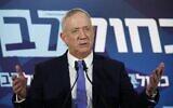 Blue and White leader Benny Gantz speaks to the press in Tel Aviv on November 20, 2019. (Jack Guez/AFP)