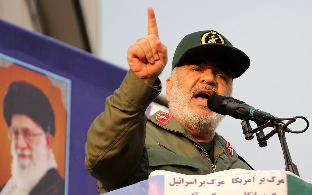Iran's Islamic Revolutionary Guards commander Major General Hossein Salami speaks during a pro-government rally in the capital Tehran's central Enghelab Square on November 25, 2019. (ATTA KENARE / AFP)