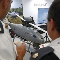 In this photo taken on November 7, 2019, Orbiter 3, a small tactical unmanned aerial vehicle (STUAV), by Israeli company Aeronautics is displayed during the 8th International Conference and Exhibition on Unmanned Systems (UVID) at Israel's Airport City, near Tel Aviv. (JACK GUEZ / AFP)