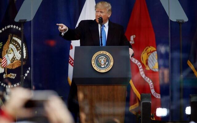 US President Donald Trump speaks at the opening ceremony of the Veterans' Day Parade on November 11, 2019 in New York City. (Spencer Platt/Getty Images/AFP)