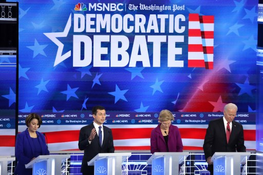 Democratic presidential candidate Sen. Amy Klobuchar  South Bend Indiana Mayor Pete Buttigieg Sen. Elizabeth Warren and former Vice President Joe Biden participate in the Democratic Presidential Debate at Tyler Perry Studios November 20