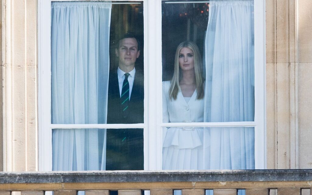 Jared Kushner and Ivanka Trump attend a Ceremonial Welcome at Buckingham Palace in London, England on June 3, 2019. (Samir Hussein/WireImage via JTA)