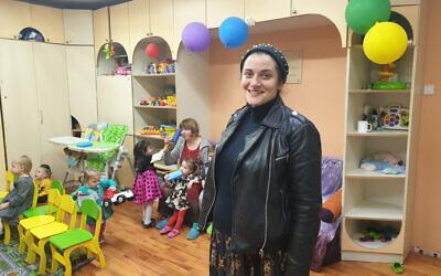 Alina Feoktistova at the Tikva Jewish education complex in Odessa, Ukraine, November 2, 2019. (Cnaan Liphshiz/JTA)
