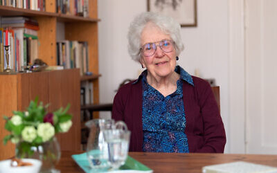 Laureen Nussbaum, friend of Anne Frank, in Berlin on May 9, 2019, during a German media interview about the newly published book 'Anne Frank - Liebe Kitty.' (Photo by Soeren Stache/picture alliance via Getty Images/via JTA)