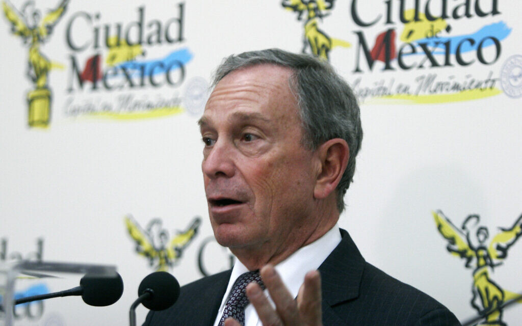 Michael Bloomberg speaks during a press conference at Mexico City's City Hall, April 24, 2007. (Ronaldo Schemidt/AFP via Getty Images/via JTA)