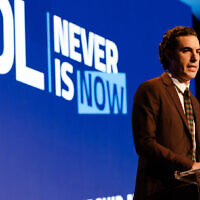 Sacha Baron Cohen speaks at the Anti-Defamation League's Never Is Now conference in New York, Nov. 21, 2019. (Jennifer Liseo/ADL)