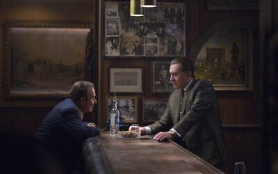 Joe Pesci, left, and Robert De Niro star in Martin Scorsese's 'The Irishman.' (Netflix via JTA)