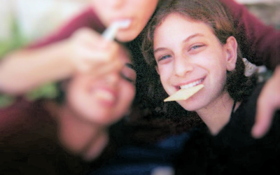 Our daughter, Malki Roth, with her friends, in a photograph found in a disposable camera, after Malki was killed by the bomb set by Ahlam Tamimi at the Sbarro's pizzeria in Jerusalem, on August 9, 2001. (courtesy)
