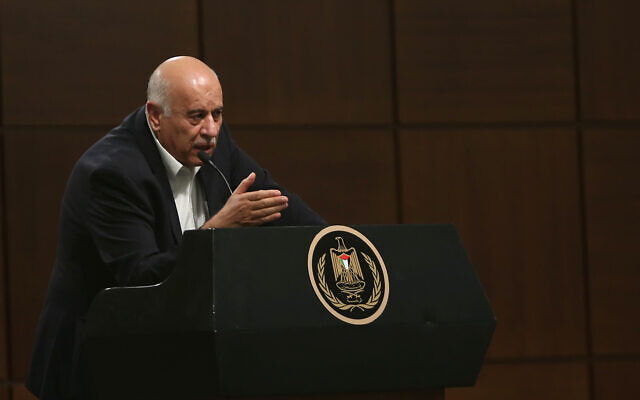 Fatah Central Committee secretary-general Jibril Rajoub speaking to hundreds of Israeli activists at an event at the Palestinian Authority presidential headquarters in Ramallah on November 28, 2019. (Credit: Wafa)