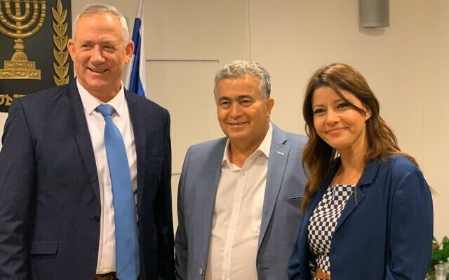 L to R: Blue and White leader Benny Gantz, Labor chief Amir Peretz and Gesher head Orly Levy-Abekasis in a meeting, November 14, 2019 (Facebook photo)