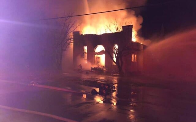 A former synagogue building in Breckenridge, Texas, burning down on November 24, 2019. (Courtesy: Breckenridge Fire Department)