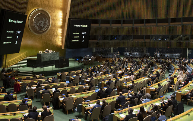 View of the United Nations General Assembly during a vote the US-imposed  on Cuba on November 7, 2019. (Evan Schneider/ UN)