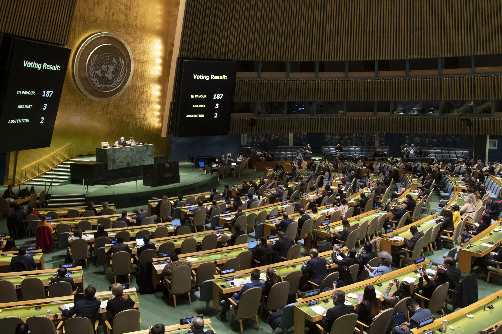 View of the United Nations General Assembly during a vote the US-imposed on Cuba