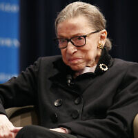 Supreme Court Justice Ruth Bader Ginsberg attends a panel with former US president Bill Clinton and former secretary of state Hillary Clinton, October 30, 2019, at Georgetown Law's second annual Ruth Bader Ginsburg Lecture, in Washington. (AP Photo/Jacquelyn Martin)