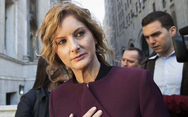 Summer Zervos leaves New York state appellate court in New York, October 18, 2018. (Mary Altaffer/AP)