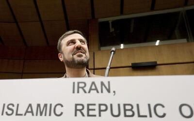 Iran's ambassador to the International Atomic Energy Agency, Gharib Abadi, waits for the start of the IAEA board of governors meeting at the International Center in Vienna, Austria, November 7, 2019. (AP Photo/Ronald Zak)