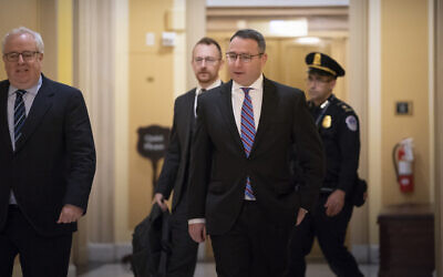Former National Security Council Director for European Affairs Lt. Col. Alexander Vindman returns to the Capitol to review transcripts of his testimony in the impeachment inquiry of US President Donald Trump, in Washington, November 7, 2019. (AP Photo/J. Scott Applewhite)