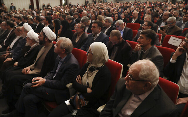 Participants listen to a speaker during the Mustafa scientific award ceremony in Tehran, Iran, November 11, 2019. (AP Photo/Vahid Salemi)