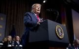 US President Donald Trump speaks at the Economic Club of New York at the New York Hilton Midtown in New York, November 12, 2019. (AP Photo/Andrew Harnik)
