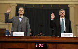Career Foreign Service officer George Kent, left, and top US diplomat in Ukraine William Taylor, right, are sworn in to testify during the first public impeachment hearing of US President Donald Trump by the House Intelligence Committee on Capitol Hill, in Washington, November 13, 2019. (Andrew Harnik/AP)