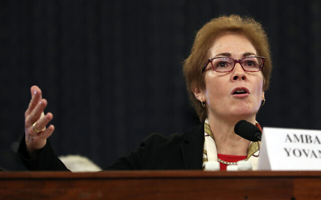 Former US ambassador to Ukraine Marie Yovanovitch testifies before the House Intelligence Committee on Capitol Hill in Washington, November 15, 2019, during the second public impeachment hearing of President Donald Trump's efforts to tie US aid for Ukraine to investigations of his political opponents. (AP Photo/Andrew Harnik)