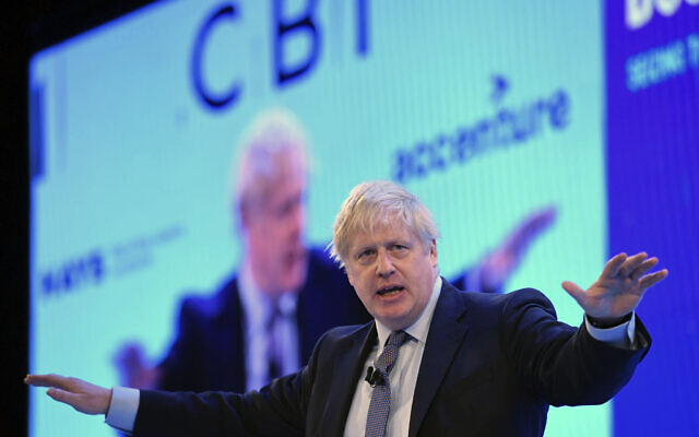Britain's Prime Minister Boris Johnson speaking at the Confederation of British Industry (CBI) annual conference in London, November 18, 2019. (Stefan Rousseau/PA via AP)