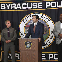 Peter Fitzgerald from the FBI addresses questions about a series of racist messages and hate crimes that have occurred at SU in the previous two weeks during a press conference at the Public Safety Building in Syracuse, New York, November 19, 2019. (Lauren Long/The Syracuse Newspapers via AP)