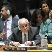 Palestinian Ambassador to the United Nations Karen Riyad Mansour listens to speakers during a meeting on the Middle East, including the Palestinian question, Wednesday, Nov. 20, 2019 at United Nations headquarters. (AP Photo/Mary Altaffer)