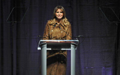 US First Lady Melania Trump speaks at the B'More Youth Summit, Tuesday, Nov. 26, 2019, at UMBC in Baltimore (Barbara Haddock Taylor/The Baltimore Sun via AP)