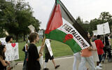 Illustrative: Marchers against Israel walk from the Carnegie Mellon University campus in Pittsburgh on Wednesday, July 26, 2006.  (AP Photo/Keith Srakocic)
