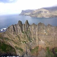 An aerial view of Tindholmur islet off of Vagar Island in the Faroe Islands, May 25, 2007 (AP Photo/John McConnico)