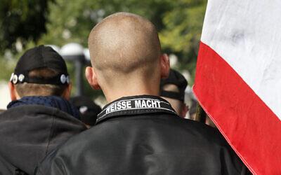 Illustrative: Neo-Nazis march in Berlin, Germany,  October 11, 2009. (AP/File)