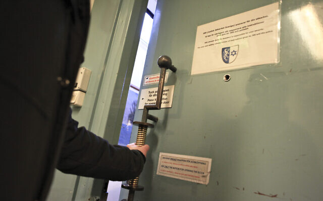 In this March 3, 2010 photo, the secured doors of the Jewish community center in central Malmo, Sweden are shown. (AP Photo/Pamela Juhl)