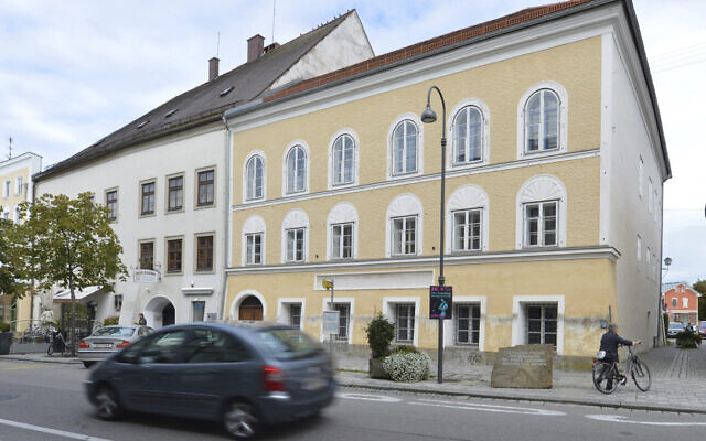 An exterior view of Adolf Hitler's birth house, in Braunau am Inn, Austria, September 27, 2012. (Kerstin Joensson/AP)