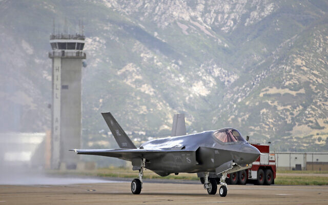 This photo from September 2, 2015, shows an F-35 jet arriving at its new operational base at Hill Air Force Base in Utah. (AP Photo/Rick Bowmer, File)