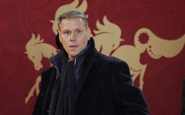 Former soccer player Marco van Basten arrives for the 2018 soccer World Cup draw in the Kremlin in Moscow, Friday, Dec. 1, 2017. (AP/Dmitri Lovetsky)