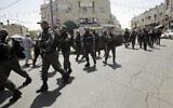 Illustrative photo of Israeli border police in East Jerusalem on May 18, 2018. (AP/Mahmoud Illean)