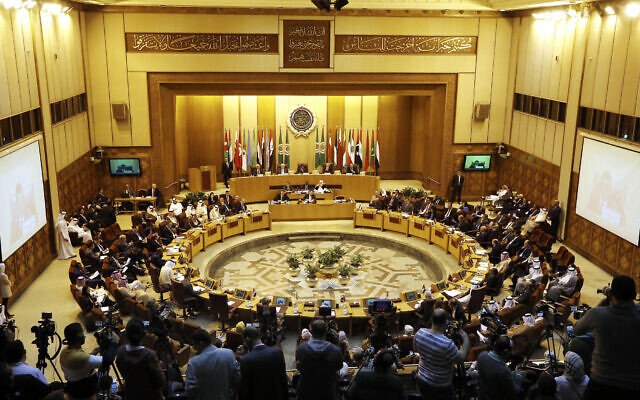 Illustrative: An extraordinary session of the Arab League foreign ministers meets to discuss the situation in the Palestinian territories at the Arab League headquarters in Cairo, Egypt, April 21, 2019. (Amr Nabil/AP)