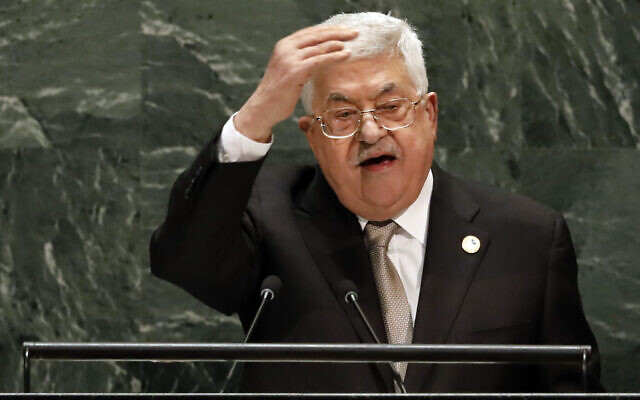 Palestinian Authority President Mahmoud Abbas addresses the 74th session of the United Nations General Assembly, September 26, 2019. (AP Photo/Richard Drew)