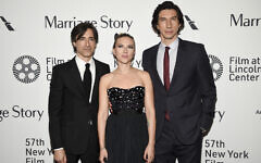 Director, screenwriter and producer Noah Baumbach, left, poses with actors Scarlett Johansson, center, and Adam Driver at the 'Marriage Story' premiere during the 57th New York Film Festival at Alice Tully Hall on October 4, 2019, in New York. (Evan Agostini/Invision/AP)
