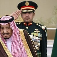 Saudi Arabia's King Salman attends the official welcome ceremony for Russian President Vladimir Putin in Riyadh, Saudi Arabia,, October 14, 2019. (AP Photo/Alexander Zemlianichenko, Pool)